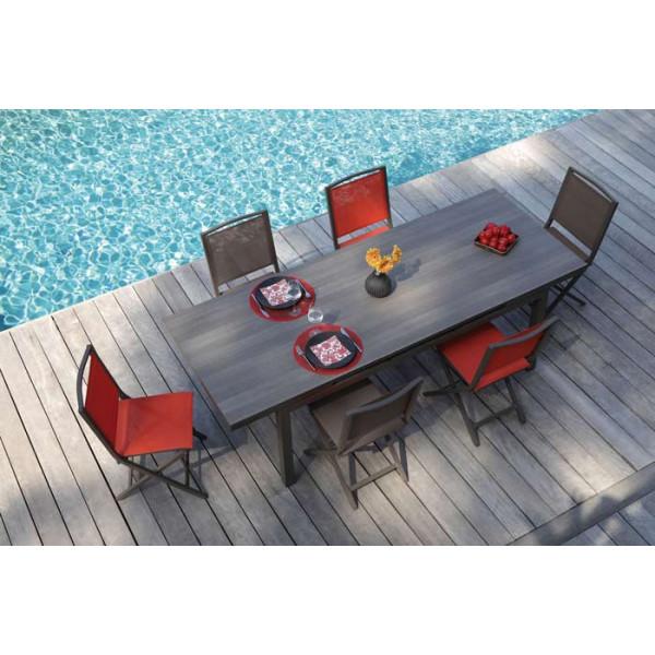 Salon de jardin PROLOISIRS Table Teramo 180/235 café + 6 chaises IDA pliantes paprika
