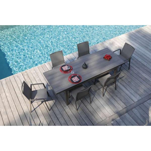 Salon de jardin PROLOISIRS Table Teramo 180/235 café + 6 fauteuils Palma café