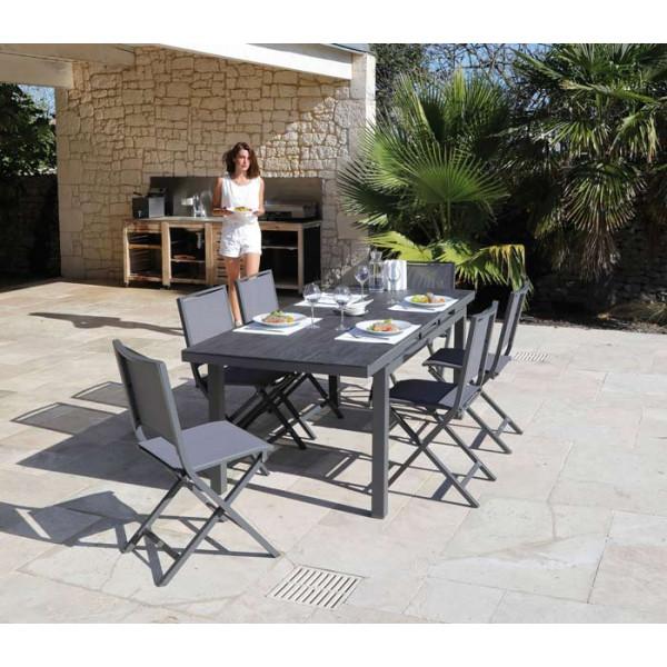 Salon de jardin PROLOISIRS Table Teramo 180/235 grise + 6 chaises IDA pliantes grises