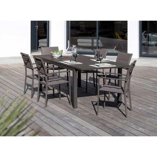 Salon de jardin Trieste 180/240 grise + 6 fauteuils Milan gris Alizé