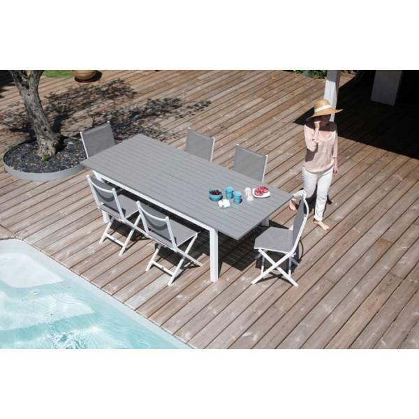 Salon de jardin Trieste 180/240 taupe + 6 chaises pliantes Thema Taupes Alizé