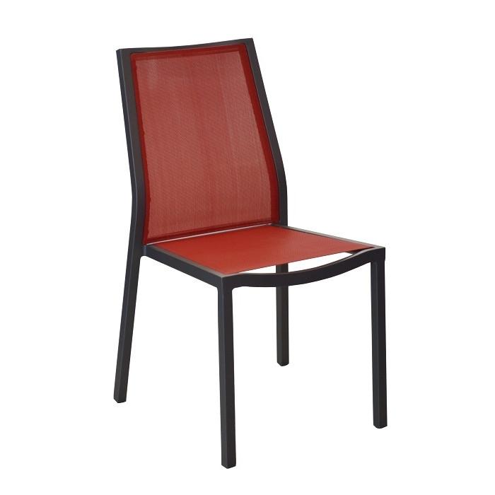 salon de jardin barcelona 145 grise 6 chaise ida rouges. Black Bedroom Furniture Sets. Home Design Ideas