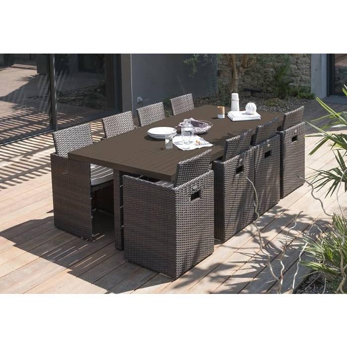 Salon de jardin dcb encastrable plateau en aluminium 8 - Salon de jardin aluminium 8 places ...