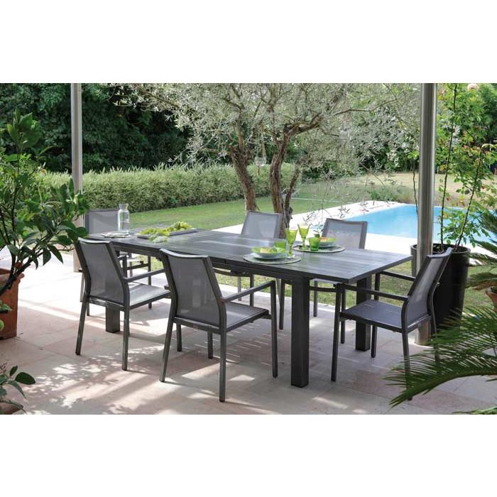 Salon de jardin PROLOISIRS Table ELISA 180/240 ICE + 6 Fauteuils IDA ...