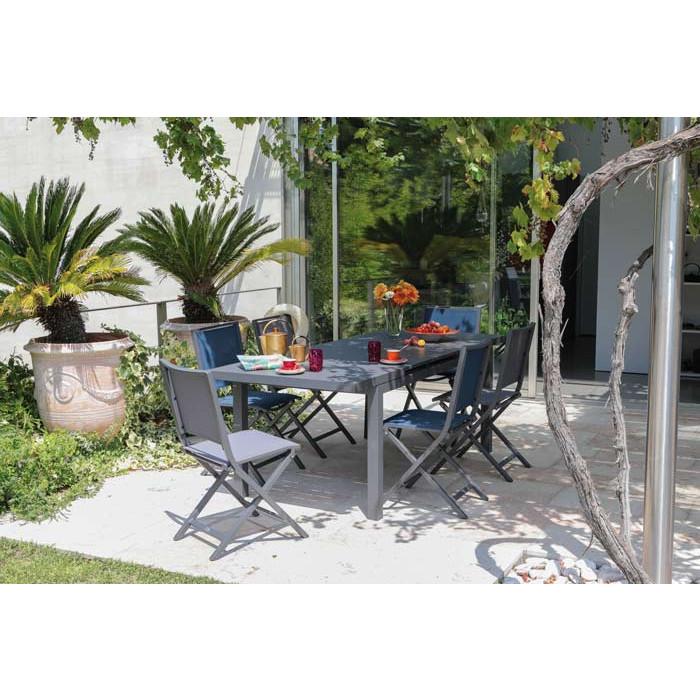 Salon de jardin PROLOISIRS Valencia 206 cm grise + 6 chaises IDA