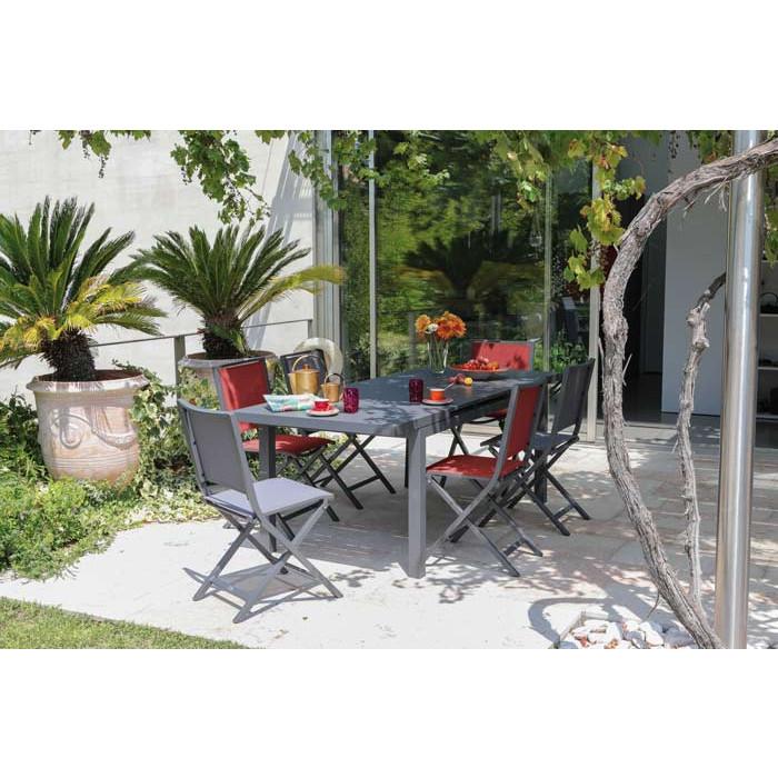 Salon de jardin PROLOISIRS Table Valencia 206 cm grise + 6 chaises IDA pliantes rouges