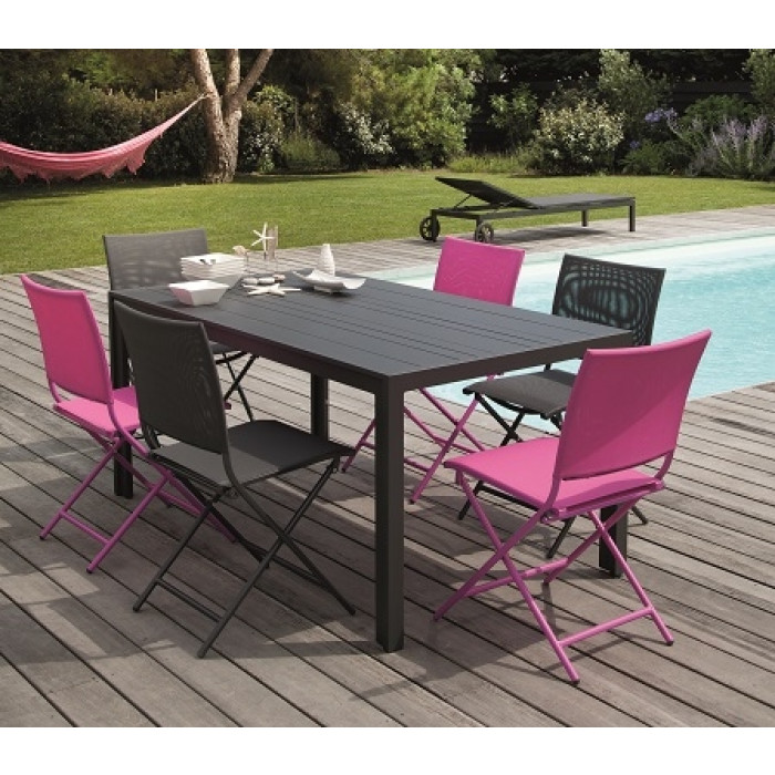 Ensemble repas Table MT 160 Grise + 6 Chaises Globe Pliantes ...