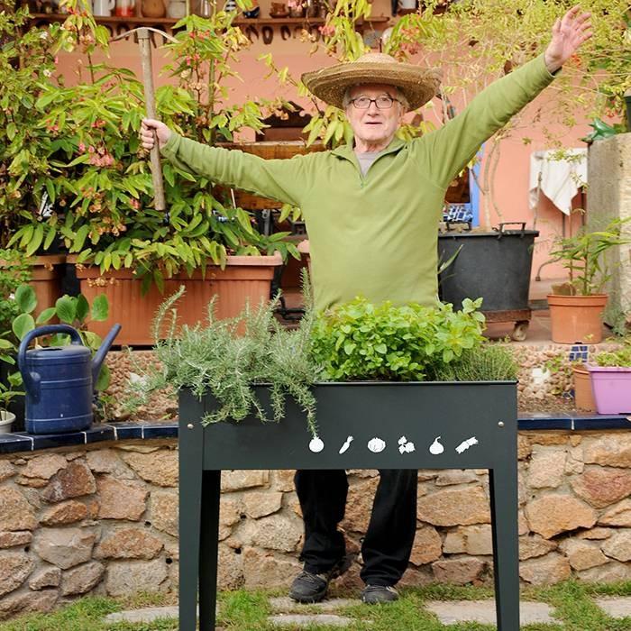 Carr potager surelev sur pieds herstera anthracite raviday jardin for Jardin potager sur pieds
