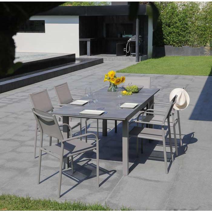 Salon de jardin Moora 160/210 taupe + 6 fauteuils Duca taupes Alizé