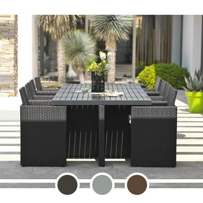 Salon de jardin DCB Encastrable - plateau en aluminium, 8 ...