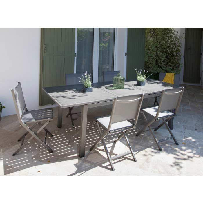 Salon de jardin Trieste 180/240 ice + 6 chaises pliantes thema brush ...