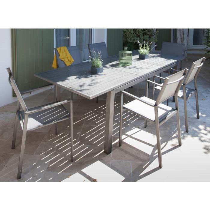 Salon de jardin Trieste 180/240 ice + 6 fauteuils Thema brush Alizé ...