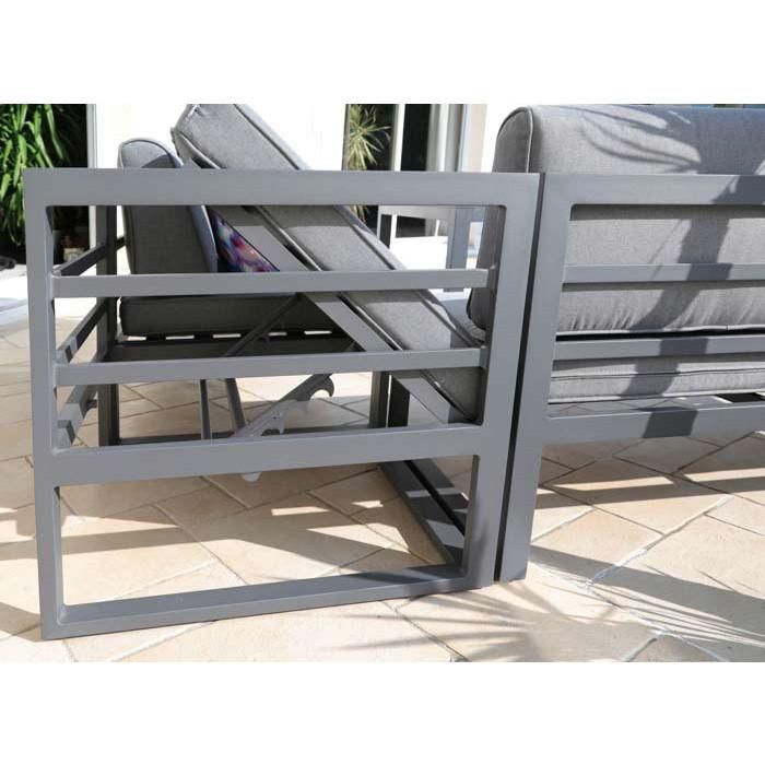 Salon de jardin bas PROLOISIRS Royan avec canapé d\'angle et banc ...