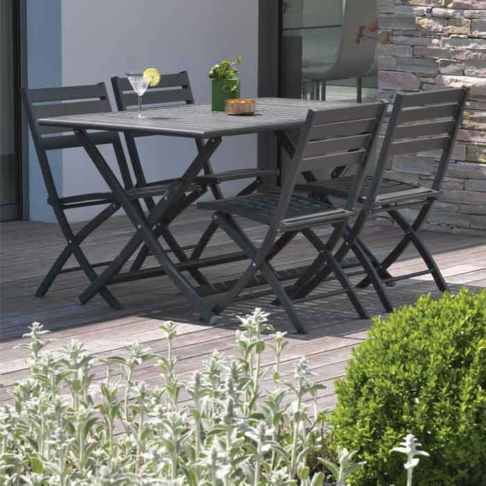 Salon de jardin MARIUS en aluminium pour balcon ou terrasse ...