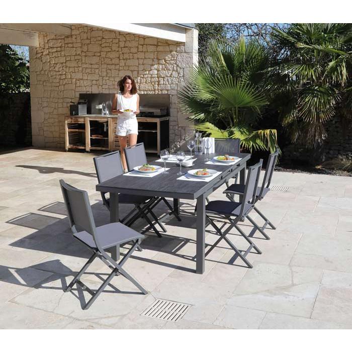 Salon de jardin PROLOISIRS Table Teramo 180/235 grise + 6 chaises ...
