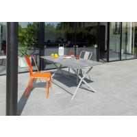 Salon de jardin Azuro 160 Taupe + 4 Chaises Azuro PROLOISIRS (2 Taupes / 2 Oranges)