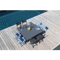 Salon de jardin PROLOISIRS table Barcelona 145 grise + 8 chaises LUCCA pliantes grises
