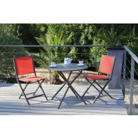 Salon de jardin PROLOISIRS table Guéridon Globe Ø80 café + 2 chaises IDA pliantes paprika