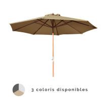 Parasol bois droit manivelle PROLOISIRS Ø 300 cm