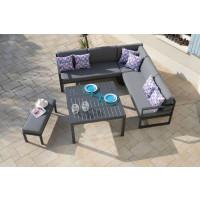 Salon de jardin bas PROLOISIRS Royan avec canapé d'angle et banc