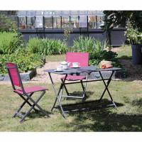 Salon de jardin Alizé Lorita 110 x 70 cm + 4 chaises Thema framboise