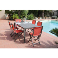 Salon de jardin PROLOISIRS Table Stoneo café + 6 chaises IDA pliantes paprika