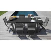Salon de jardin Alizé Ondine 160/213 gris + 6 chaises pliantes Thema grises