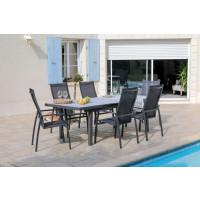 Salon de jardin PROLOISIRS Table Tavera 180/240 + 6 fauteuils Fusion gris