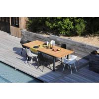 Salon de jardin PROLOISIRS Table Tempo 180/240 teck + 6 fauteuils Moss blancs