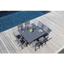 Salon de jardin PROLOISIRS table Barcelona 145 grise + 8 chaises IDA pliantes grises