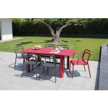 Salon de jardin PROLOISIRS Table EOS 130/180 rouge + 6 fauteuils EOS rouges