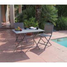 Salon de jardin PROLOISIRS Table Guéridon Globe 110 cm gris + 2 chaises IDA pliantes grises