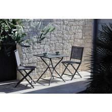 Salon de jardin PROLOISIRS Table Guéridon Globe 70 cm gris + 2 chaises IDA pliantes grises