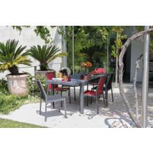 Salon de jardin PROLOISIRS Table Valencia 206 cm grise + 6 chaises IDA rouges