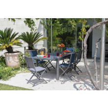 Salon de jardin PROLOISIRS Table Valencia 206 cm grise + 6 chaises IDA pliantes grises