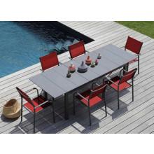 Salon de jardin Tahaa 180/240 grise + 6 fauteuils Duca rouges Alizé