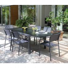 Salon de jardin gris Alizé Elise 140/240 cm + 6 fauteuils Duca gris