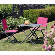 Salon de jardin Alizé Lorita 70 cm + 2 chaises Thema framboise
