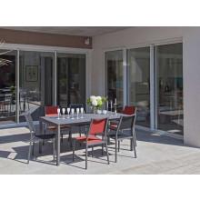 Salon de jardin Soto 180 grise + 6 fauteuils Florence rouges Alizé