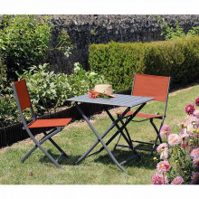 Salon de jardin Alizé Lorita 70 cm + 2 chaises Dream paprika