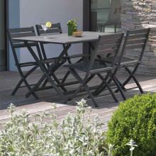 Salon de jardin MARIUS en aluminium pour balcon ou terrasse, 4 personnes