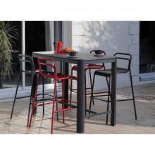 Salon de jardin PROLOISIRS mange debout EOS graphite 140 + 4 chaises hautes EOS graphite