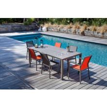 Salon de jardin PROLOISIRS Table Stoneo café + 6 fauteuils IDA paprika