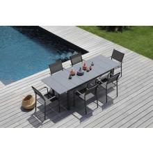 Salon de jardin Tahaa 180/240 grise + 6 fauteuils Duca gris Alizé