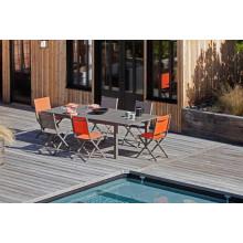 Salon de jardin Trieste 180/240 café + 6 chaises pliantes Thema paprika Alizé