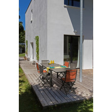 Salon de jardin Elise 140 / 240 Café + 6 Chaises Thema Cafés PROLOISIRS