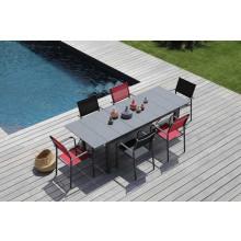 Salon de jardin Tahaa 180/240 grise + 6 fauteuils Duca noirs Alizé