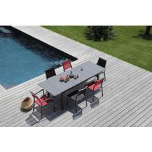 Salon de jardin Tahaa 180/240 grise + 6 fauteuils Florence rouges Alizé