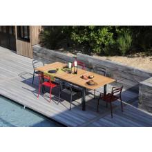 Salon de jardin PROLOISIRS Table Tempo 180/240 teck + 6 chaises Eos rouges