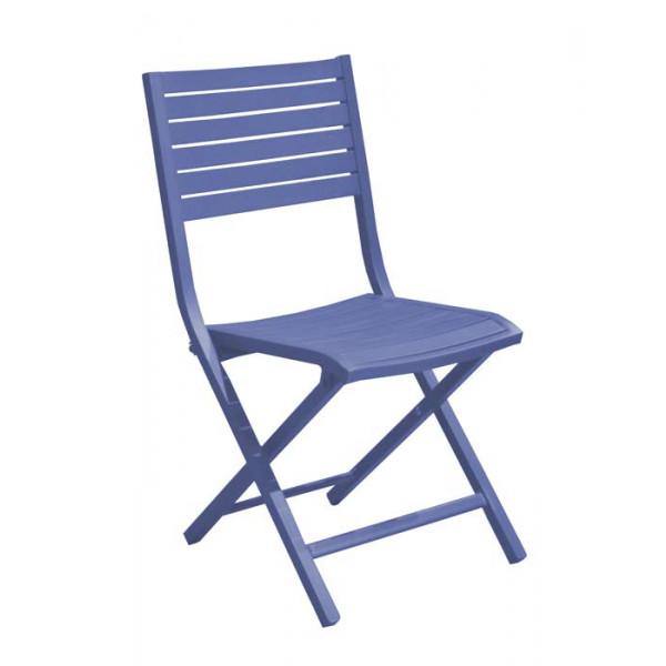 Salon de jardin PROLOISIRS table Barcelona 145 grise + 8 chaises LUCCA  pliantes cobalt